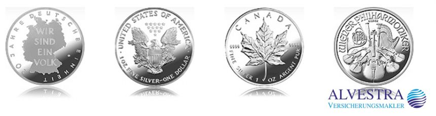 Silbermünzen aus verschiedenen Ländern